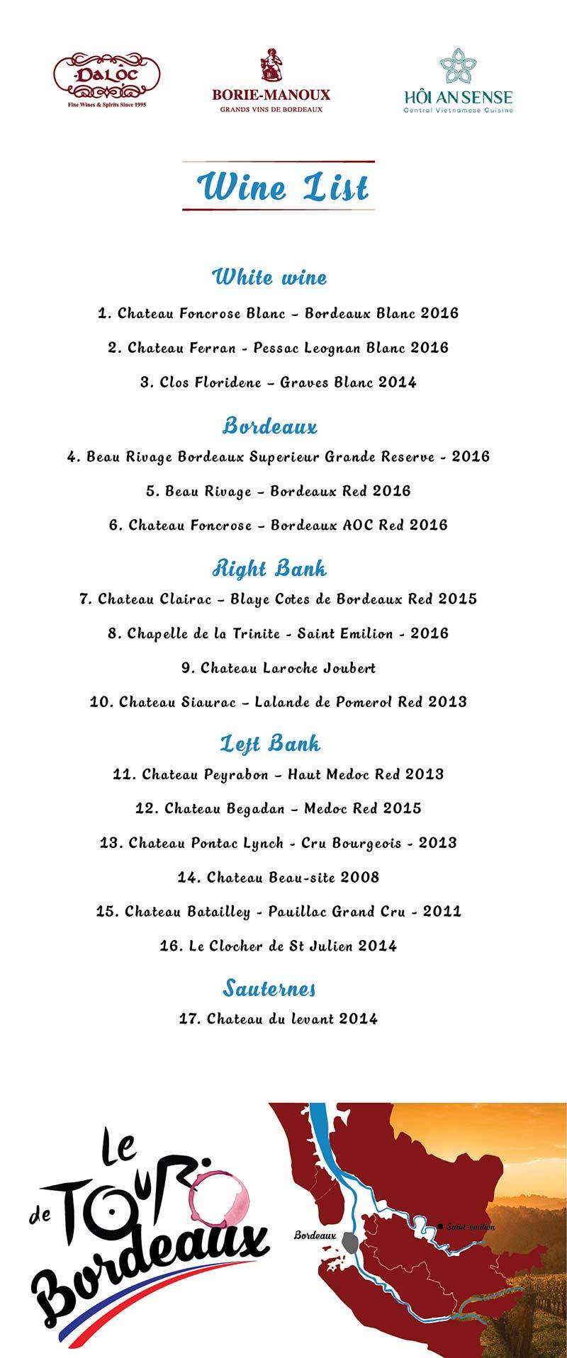 Wine list tasting